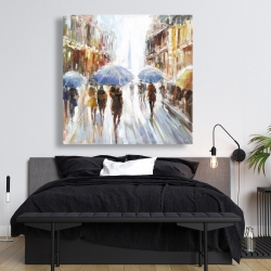 Canvas 48 x 48 - Abstract rain in the city