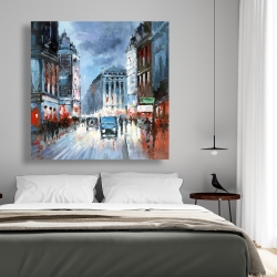 Canvas 48 x 48 - Abstract red and blue city