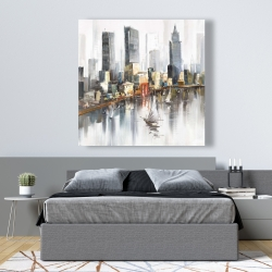 Canvas 48 x 48 - Watercolor style city with boats