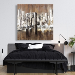 Canvas 48 x 48 - Aged finish brooklyn bridge