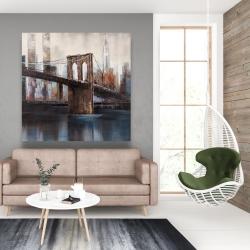 Canvas 48 x 48 - Brown and blue brooklyn bridge