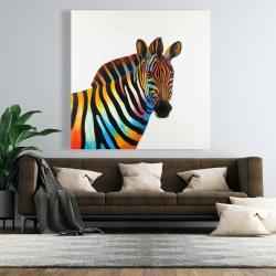 Canvas 48 x 48 - Colorful profile view of a zebra