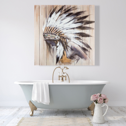 Canvas 48 x 48 - Indian with feathers