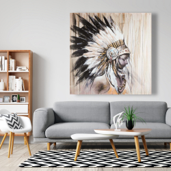 Canvas 48 x 48 - Indian with an headdress chief