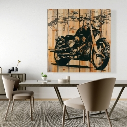 Canvas 48 x 48 - Motorcycle on wood background