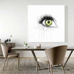 Canvas 48 x 48 - Green eye in watercolor