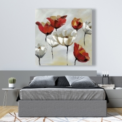 Canvas 48 x 48 - Abstract red and white flowers