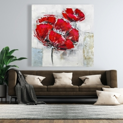 Canvas 48 x 48 - Abstract and texturized red flowers