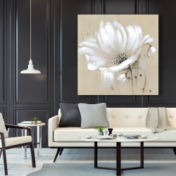 Canvas 48 x 48 - White abstract wild flower