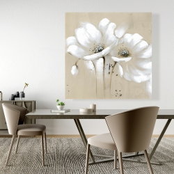 Canvas 48 x 48 - White abstract wild flowers