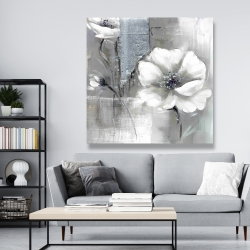 Canvas 48 x 48 - Monochrome and silver flowers