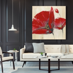 Canvas 48 x 48 - Three red flowers