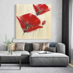 Canvas 48 x 48 - Three red flowers with texture