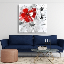 Canvas 48 x 48 - Red & gray flowers