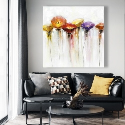 Canvas 48 x 48 - Multiple colorful abstract flowers