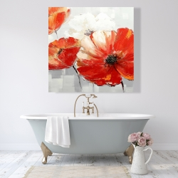 Canvas 48 x 48 - Abstract red wild flowers