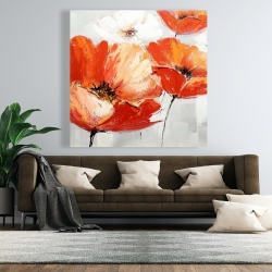 Canvas 48 x 48 - Red wild flowers in the wind