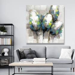 Canvas 48 x 48 - Abstract blue tulips