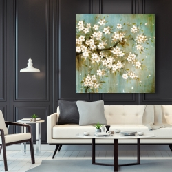 Canvas 48 x 48 - White cherry blossom