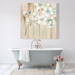 Canvas 48 x 48 - White flowers on wood
