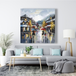 Canvas 48 x 48 - Passersby in the street by rainy day of fall