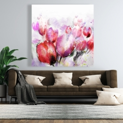 Canvas 48 x 48 - Abstract blurry tulips