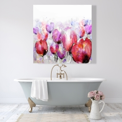 Canvas 48 x 48 - Pink tulips field