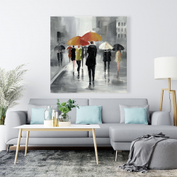 Canvas 48 x 48 - Street scene with umbrellas