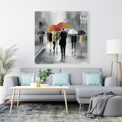 Canvas 48 x 48 - Street scene with umbrellas