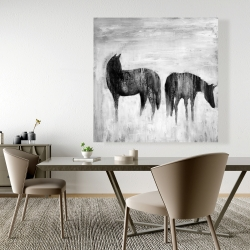 Canvas 48 x 48 - Horses silhouettes in the mist