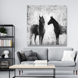 Canvas 48 x 48 - Black and white horses