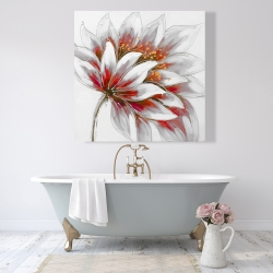 Canvas 48 x 48 - Red flower with gold center