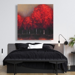 Canvas 48 x 48 - Red trees by a dark day