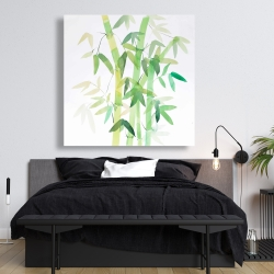 Canvas 48 x 48 - Watercolor bamboo with leaves