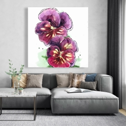 Canvas 48 x 48 - Two blossoming orchid with wavy petals