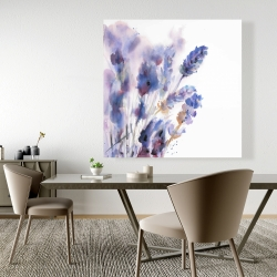 Canvas 48 x 48 - Watercolor lavender flowers with blur effect
