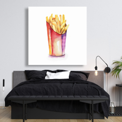 Canvas 48 x 48 - Watercolor french fries