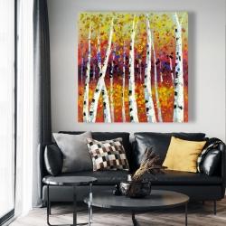 Canvas 48 x 48 - Colored birches
