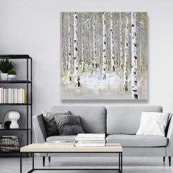 Canvas 48 x 48 - Birch forest by winter