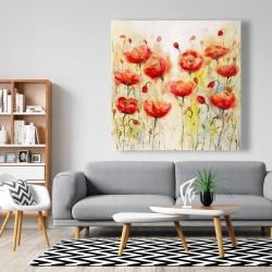 Canvas 48 x 48 - Red flowers garden