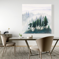 Canvas 48 x 48 - Mountains landscape in watercolor