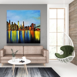 Canvas 48 x 48 - City by night with a bridge
