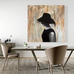 Canvas 48 x 48 - Audrey hepburn with a big hat