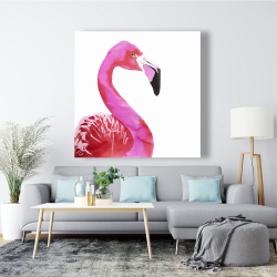 Canvas 48 x 48 - Watercolor proud flamingo profile