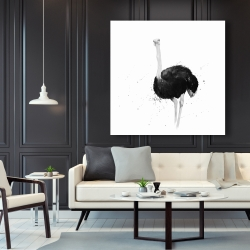 Canvas 48 x 48 - Ostrich in watercolor