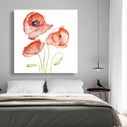 Canvas 48 x 48 - Watercolor poppies