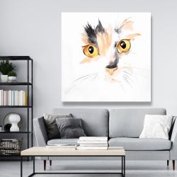 Canvas 48 x 48 - Watercolor cat face closeup