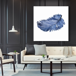 Canvas 48 x 48 - Watercolor blue feather
