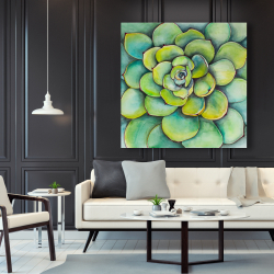 Canvas 48 x 48 - Watercolor succulent plant