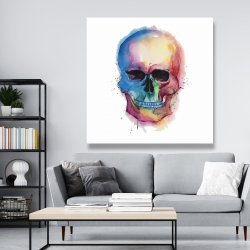 Canvas 48 x 48 - Watercolor colorful skull